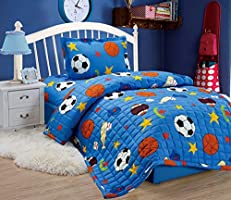 Compressed Comforter 3 Piece Set For Kids Single Size, Balls, Blue, Mixed Material