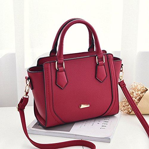 GUANGMING77 Onorevoli Borsetta Bag Ladies _ Semplice Spalla Messenger,Grigio Chiaro Claret