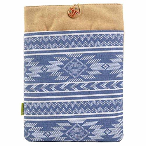 #DoYourMobile© Laptoptasche Notebooktasche 34 x 23,5 cm (13 Zoll) Schutzhülle für Laptop Notebook / Design Tasche aus Stoff / blaues Aztekennmuster 13