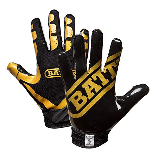 Unbekannt Battle Ultra-Stick American Football Receiver Handschuhe - schwarz/Gold Gr. 2XL