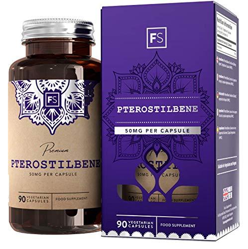 FS Pterostilben Stilbenoid Superfood-Nahrungsergänzungsmittel [50 mg], 90 vegane Kapseln | Natürliche Füllstoffe, gelatinefrei | Bioenergetische Anti-Aging-Formel - Ohne GVO, Gluten & Milch - Extrakt Antioxidantien-formel