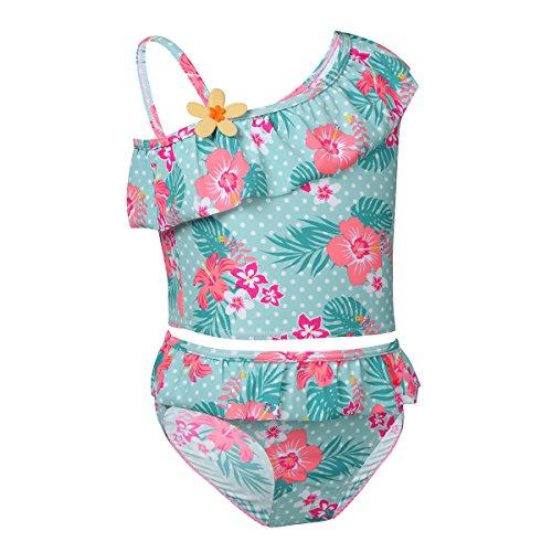 dPois Mädchen Floral 2 Pcs Badeanzug Einschulter Strand Tops mit Badehose Kinder Swimmwear mit Blumen Muster Tankini Bikini Outfits Set Gr.86-140 Grün 98-104/3-4 Jahre 2 Pcs Set-top-outfit