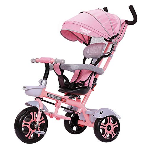 Dreiräder- Elternschub Kinder, umwandelbarer Trike-Schwenksitz, 5-Punkt-Sicherheitsgurt, Lagerplatz (Farbe : Rosa)