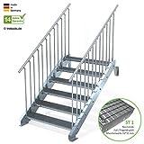 Außentreppe 6 Stufen 110 cm Laufbreite - beidseitiges Geländer - Anstellhöhe variabel von 100 cm bis 120 cm - Gitterroststufe ST1 - feuerverzinkte Stahltreppe mit 1100 mm Stufenlänge als montagefertiger Bausatz
