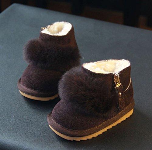 Y-BOA Bottine de Neige Ski Bébé Anti-Slide Boots Fourrure Chaussures Premier Pas Enfant Hiver Café