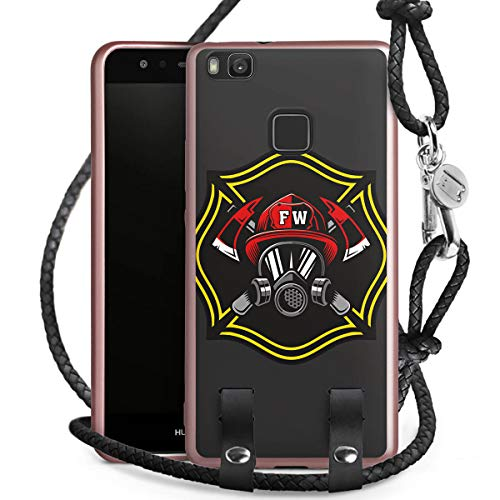 DeinDesign Carry Case kompatibel mit Huawei P9 Lite (2016) Handykette rosé Gold Handyhülle zum Umhängen Feuerwehrmann Rettungsdienst Feuerwehr