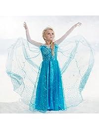 Déguisement robe Reine des neiges 3 à 8 ans (A) 3/4 ans ou 110 cm,4/5 ans ou 120 cm,5/6 ans ou 130 cm,6/8 ans ou 140 cm