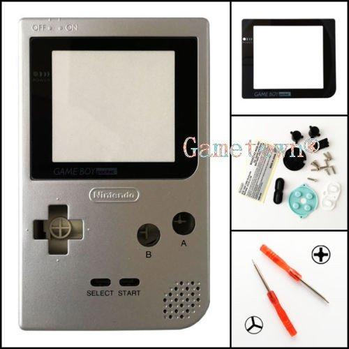gametown® Gehäuse Silber Shell Schutzhülle Ersatzteile für Nintendo Gameboy Pocket Konsole GBP System (Game Boy-system)
