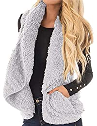 pioleUK Chaleco Cardigan para Mujer Casual Turn-Down Collar sin Mangas sólido Coat Chalecos