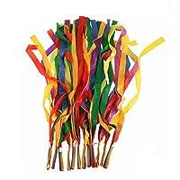 Hrph 12Pcs Hand Held Dance Rainbow Ribbon Toys for Children Random Color