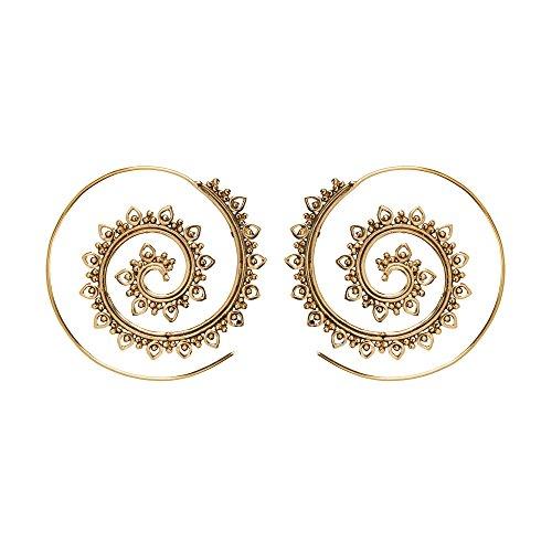 81stgeneration Frauen Gold Messing 40 mm Stammes Indisch Spiral Einfädler Ohrringe (Gold Ohrringe Aus Indien)