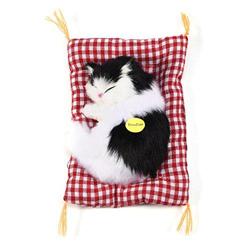 Zerodis Juguete del Gato de la Simulación Que Duerme con la Cama de la Estera Suave Vocalize el Gatito del Maullido de la Muñeca Rellenos Juguetes de la Muñeca Decoración del Hogar(Black + White)