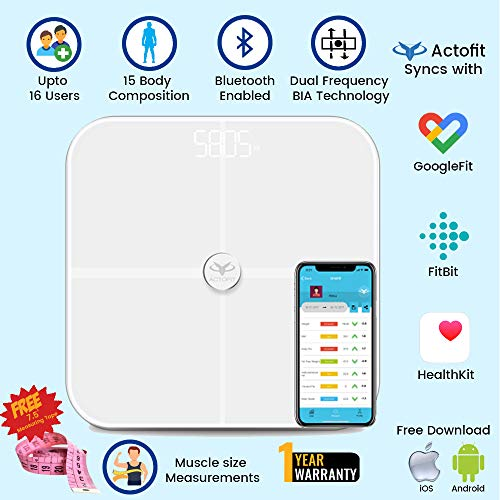 Actofit Body Fat Analyser Smart Scale with Complete Digital Composition Monitor with bluetooth and artificial intelligence measures BMI, BMR, Body fat, Body water, Bone mass, Fat free weight,, Protein, Physique rating, Metabolic age