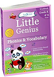 Phonics & Vocabulary II: Kindergarten Workbook (Little Genius Series): Learn Blend Sounds, Sight Words, Ph