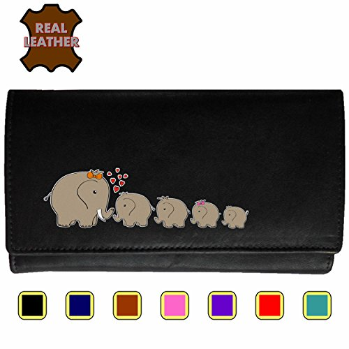 - 51fGbKiaqIL - Elephant Family Klassek Real Leather Womans Purse Wallet 4 Calfs Sons Daughter (Black)