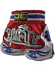 """'Danger Muay Thai Pantalones Cortos """"Exclusive Tailandia, hecha de satén, color rojo, tamaño XL (32"""")"""