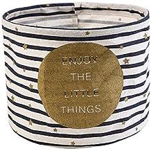Cdet Cesta de almacenamiento de escritorio de algodón y lino recién impresa armario pequeño colector de ropa storage basket,Blanco y negro