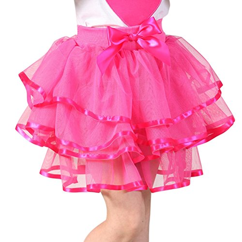 Brightup 2-13 Years Little Girls and Big Girls Tulle Tutu Skirt Red, Pink,Black, White, Dark Blue