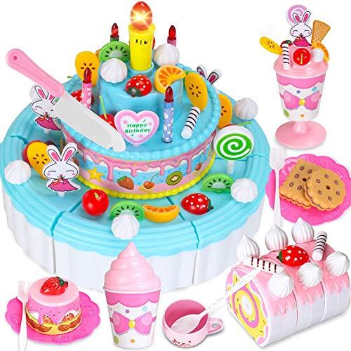 iden Geburtstag Kuchen Dessert Pretend Play Essen Spielzeug mit Kerzen für Kinder Mädchen,Blue,103pcs ()