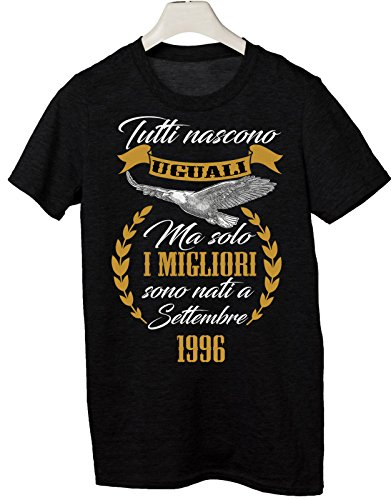 Tshirt tutti nascono uguali ma solo i migliori sono nati a Settembre 1996 - eventi - compleanno - Tutte le taglie by tshirteria Nero
