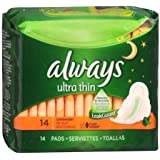 Always Ultra Thin Pads Overnight Flexi-Wings 14 EA - Buy Packs and SAVE (Pack of 6)