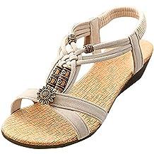 3341f9733abd Elecenty Sandalen Damen,Schuhe Schuh Sommerschuhe Bequeme Sandaletten  Frauen Sommer Schuhe Offene Flache Badesandalette Geflochten