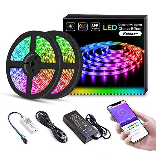 LED Streifen,10M LED Bänder 5050 SMD 300 LEDs IP65 Wasserdicht RGB LED Stripes mit 44Key Fernbedienung und Netzteil für Decke Bar Schrank Terrasse Balkon Party und Haus Deko -