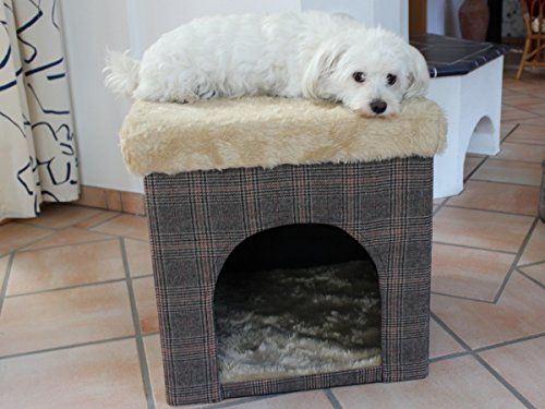 Dog cave / cat cave and seat, tweed look, 50x50x50 cm, indoor 7
