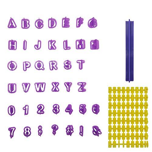 Ealicere 40 Stück Ausstechform Ausstecher Set und 1 Stück Schimmel, Fondant Tortendeko Ausstechform Buchstaben, Zahlen und Satzzeichen - Geeignet für Anfänger und Profis