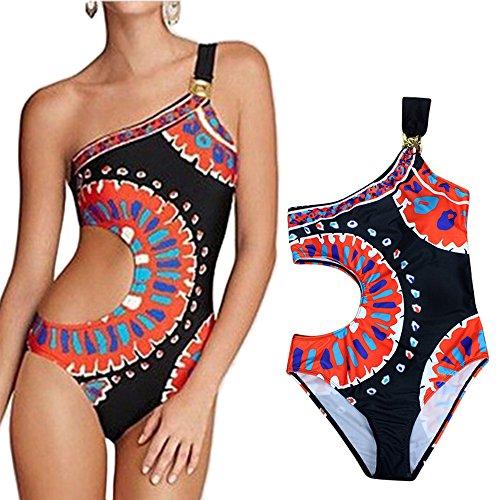 indischer Stammes-Artbikinibadeanzug für Frauen einteilige gepolsterte Strandbadebekleidung mit einer Schulter - gedruckt (Set Gepolstert Stamm)
