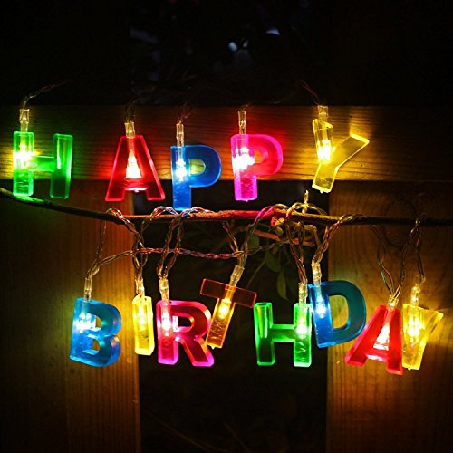 Gresonic LED Lichterkette Happy Birthday Geburtstag Batteriebetrieben Lichterkette Deko Leuchte für Party Bunt [Energieklasse A+]