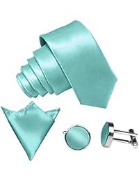GASSANI 3-SET Krawattenset, Krawatte Manschettenknöpfe und Einstecktuch in 29 Farben | Edle Satin Seidenoptik
