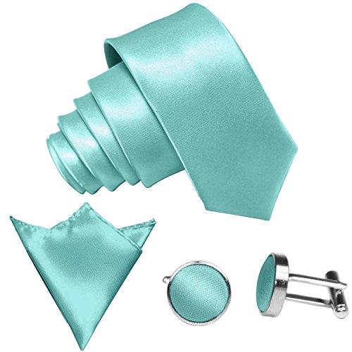 GASSANI 3-SET Krawattenset, 8,5Cm Breite Mint-Gruene Herren-Krawatte Schmal Manschettenknöpfe Ein-Stecktuch, Bräutigam Hochzeitskrawatte Glänzend (Mint-krawatte Einstecktuch Und)