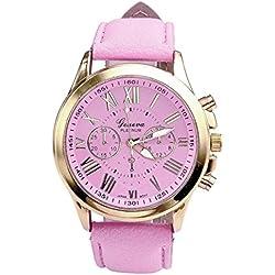 Mallom Fashion Roman Numerals Faux Leather Analog Quartz Wrist Watch Pink