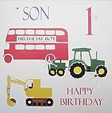 WHITE COTTON CARDS NS 2.54 cm Bus Traktor Bagger Geburtstagskarte für Sohn, 1. Geburtstag, für Jungen zum 1. Geburtstag, handgefertigt