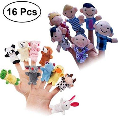 (Yannay Handpuppen 16 Stücke Fingerpuppen Set Tier und Familie Weiche Puppen Requisiten Lernspielzeug für Baby Kleinkinder)
