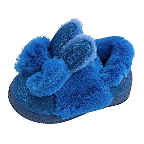 Clode® for 2-12 Years Old, Kids Baby Girls Slip On PU Leather Fuzzy Bowknot Rabbit Ear Winter Snow Boots Booties Slipper