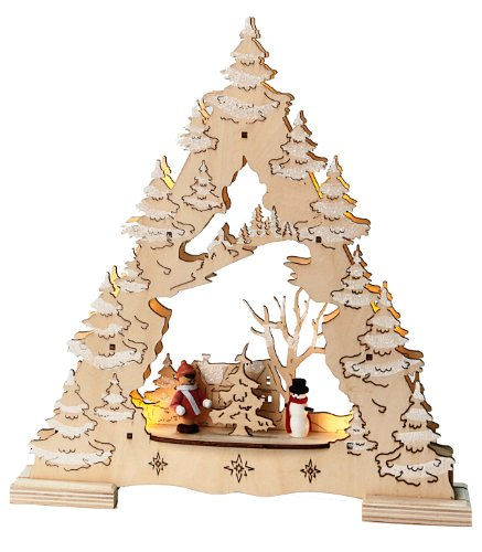 Best Season LED-Fensterleuchter Tree with Glitter, 7 warm weiß LED, Material: Holz, Batterie circa 28 x 26 cm, natur 270-24 (Pack Holz)