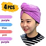 Haar Turban - Mikrofaser Haarturban für die Haare mit Knopfverschluss Duschtücher Handtücher Trocken Handtuch Anti-Frizz Lightweight Haartrockentuch für Frauen Blau, in Weiteren Farben Erhältlich(4 S