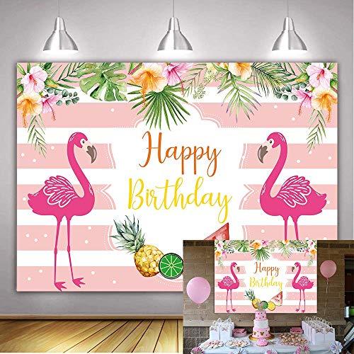 EdCott 7x5FT Sommer Pink Flamingo Ananas Party Happy Birthday Hintergrund Pink und White Banner Hintergrund Tropical Hawaiian Beach Palm Blätter Blumen Hochzeit Szene Dekoration Hintergrund Studio