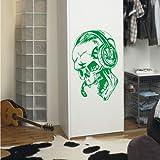 INDIGOS 4052166174107 Wandtattoo w931 Teufel Musik Wandaufkleber, 96 x 62 cm, grün