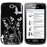 mumbi Schmetterling Blumen Hülle Samsung Galaxy W Schutzhülle (Harte Rückseite) Butterfly schwarz