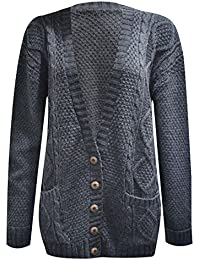 f59b04ab3d Womens Long Sleeve Chunky Cable Knitted Button Ladies Grandad Long Cardigan  Size 8-22