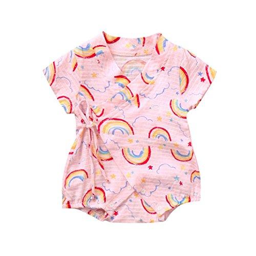 OSYARD Unisex's Clothes, Infant Baby Girls&Boys Cute Short Sleeve Rainbow Printing Jumpsuits Short Romper 100% Cotton Below 24M