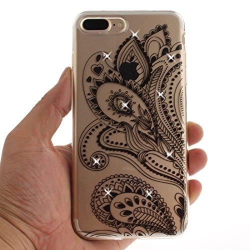 iPhone 7Fall, iPhone 7, 3D Bling Glitzer Soft Case für iPhone 711,9cm, toyym Ultra Slim Transparent Kristall Schöne Muster Schutzhülle Bumper TPU Silikon Back Schutzhülle für Iphone 7 Pfau Blume