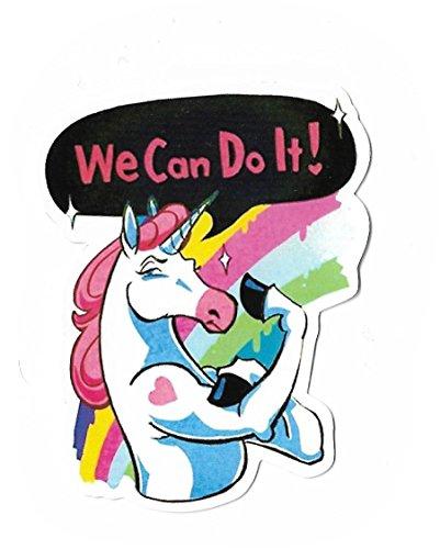 Preisvergleich Produktbild greestick Aufkleber Sticker Einhorn Rainbow Unicorn Spruch We can do it Hipster Crazy bunt farbig Pickerl