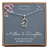 EFYTAL Mom Gifts, 925 Sterling Silver Sideways Heart Necklace for Mother & Daughter, Mom Necklaces for Women, Best Birthday Gift Ideas, Pendant Mother's Jewelry For Her, Mothers Day