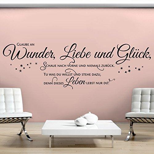 Grandora Wandtattoo Spruch Glaube an Wunder Liebe und Glück II Wohnzimmer Flur Sticker Aufkleber Wandsticker Wandaufkleber W5393