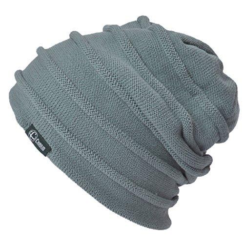 Casualbox Hommes Bordure Roll réversible Noir Bonnet Tricoter Chapeau Gris Noir