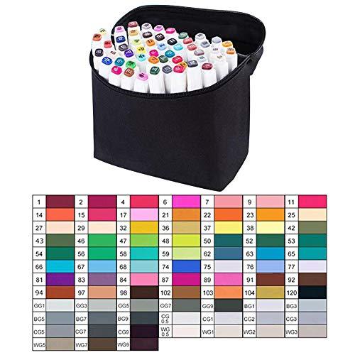 Gorgeousy Künstler Notwendiger Graphic Marker Pen Doppelseitige Finecolour Sketch-Marker mit breiter und feiner Spitze mit schwarzer Tasche